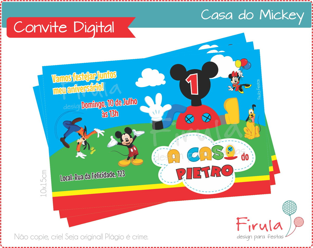 Convite Digital Casa do Mickey no Elo7  dd1248840953a