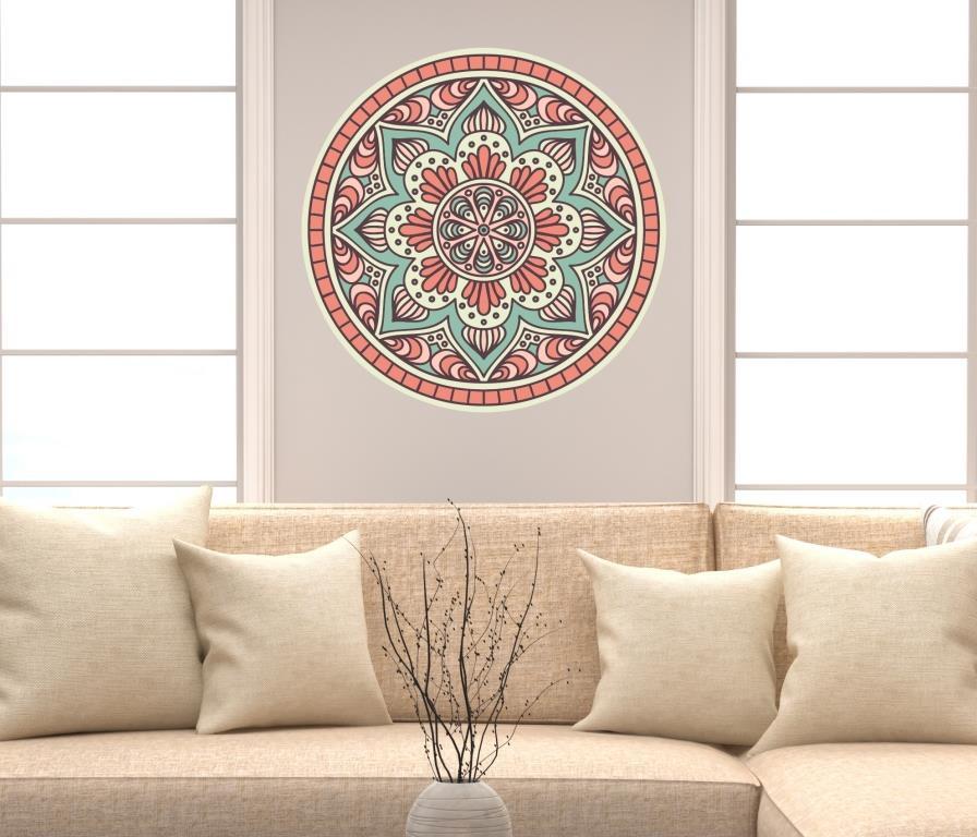 Como Fazer Artesanato Reciclagem De Garrafa Pet ~ Adesivo de parede mandala 60cm Lojadecoreacasa Mandalas Elo7