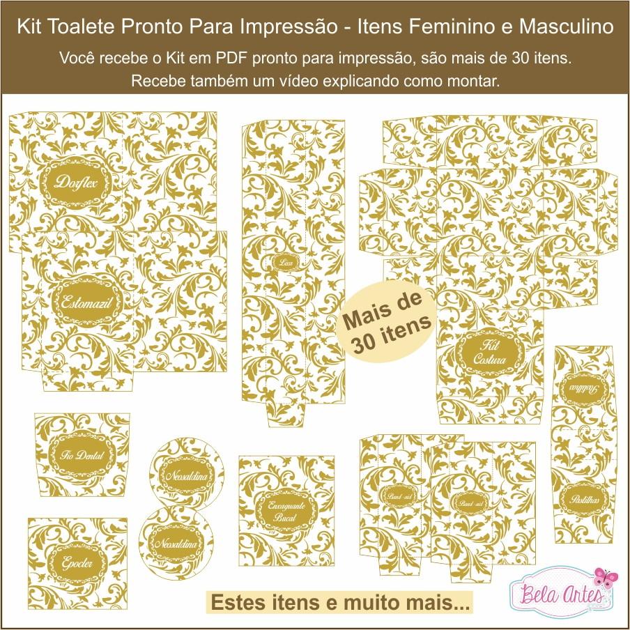 Kit Banheiro Casamento Moldes Dourado : Kit toalete digital no elo bela artes design ef