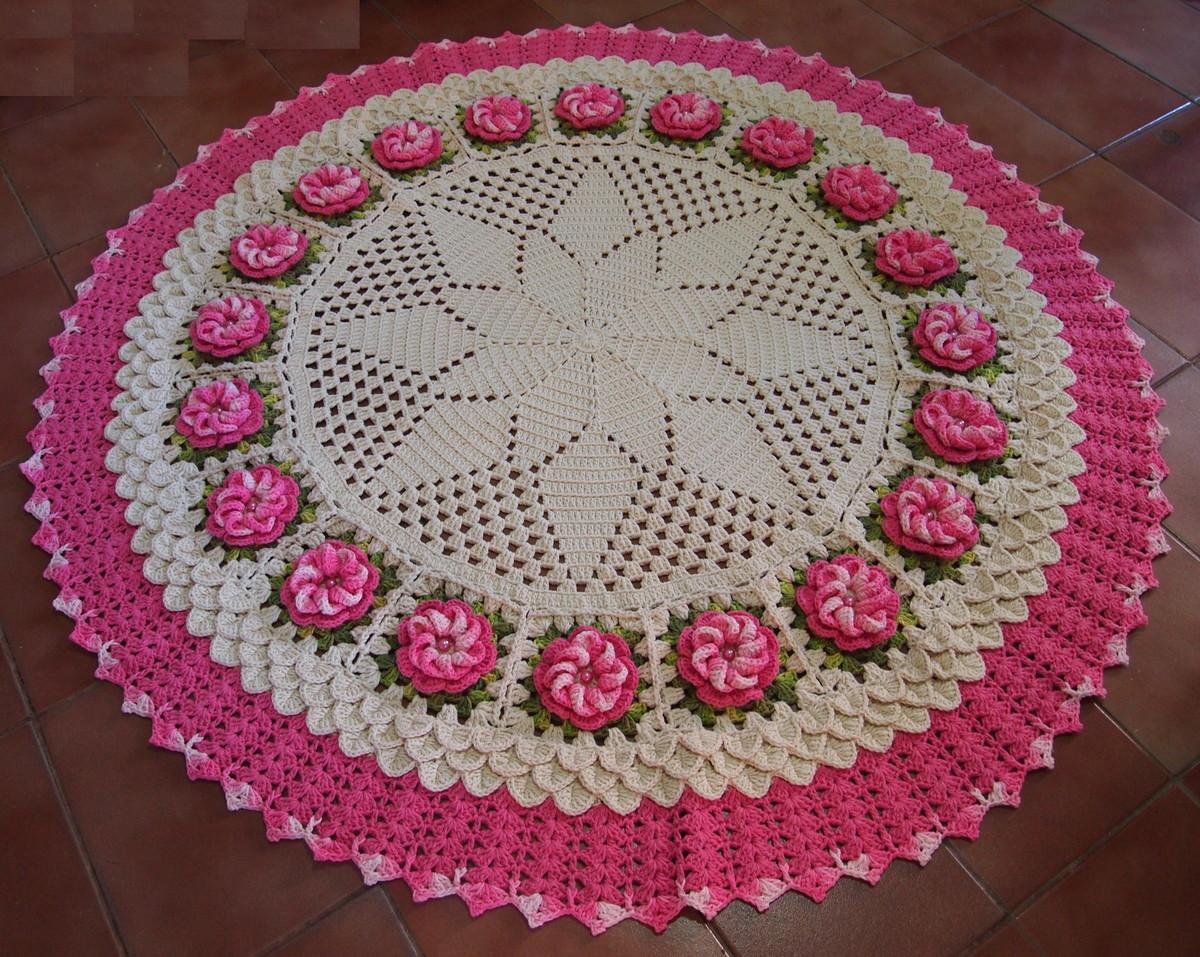 Tapete redondo com flores rosa no elo7 croches da elsa for Rosa tapete