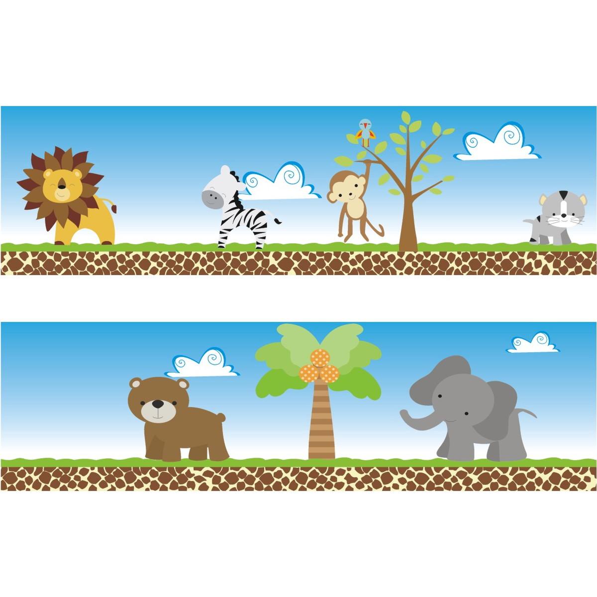 Adesivo Faixa Border Kit Zoo Safari M13 Quartinhodecorado Elo7 ~ Paredes De Gesso Para Quarto E Quarto De Bebe Floresta