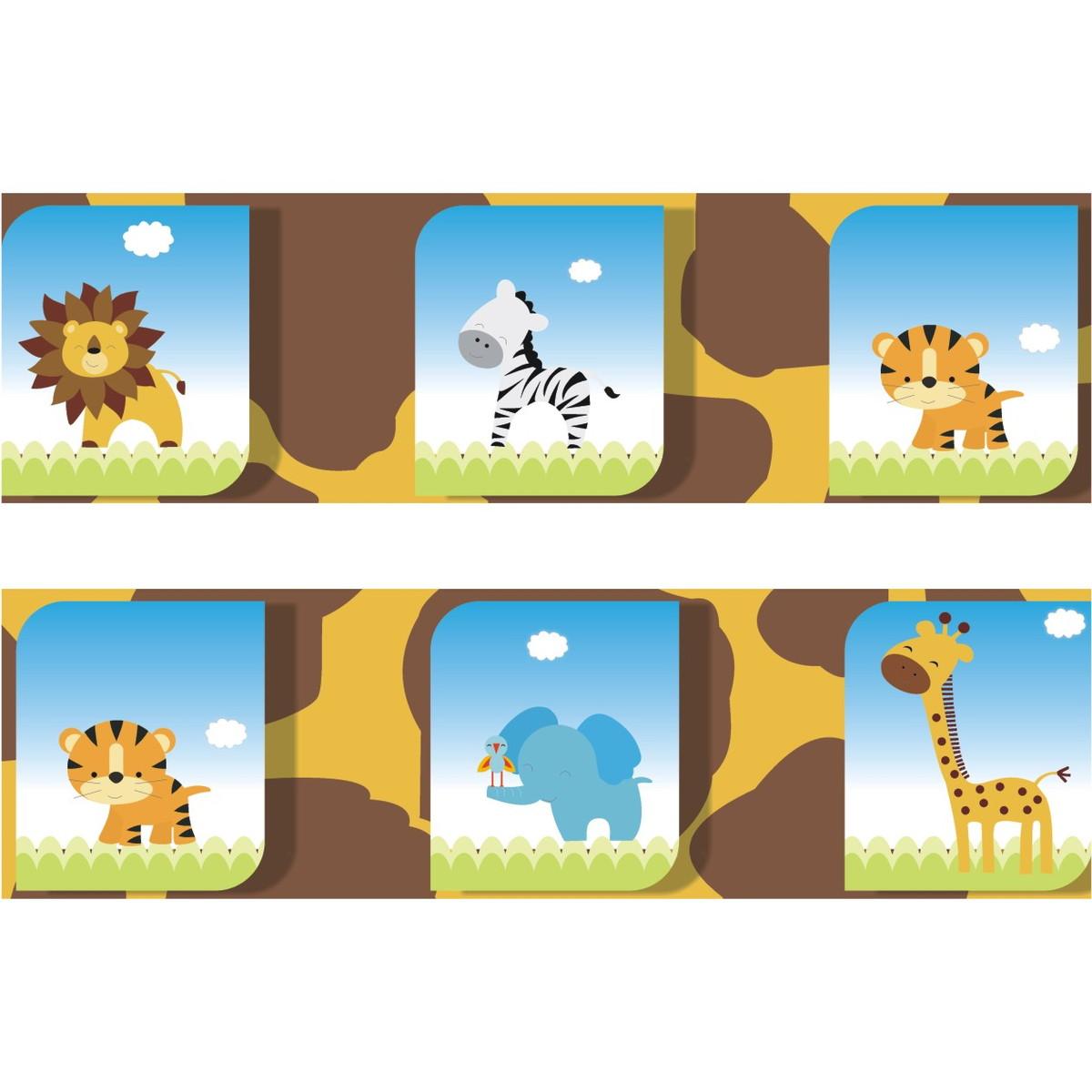 Adesivo Faixa Border Kit Zoo Safari M17 Quartinhodecorado Elo7 ~ Paredes De Gesso Para Quarto E Quarto De Bebe Floresta