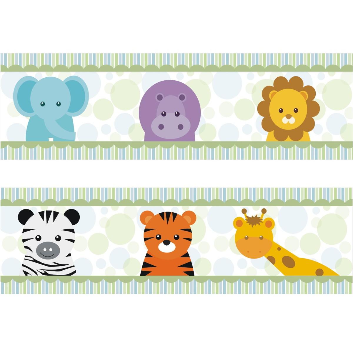 Adesivo Faixa Border Kit Zoo Safari M28 Quartinhodecorado Elo7 ~ Paredes De Gesso Para Quarto E Quarto De Bebe Floresta