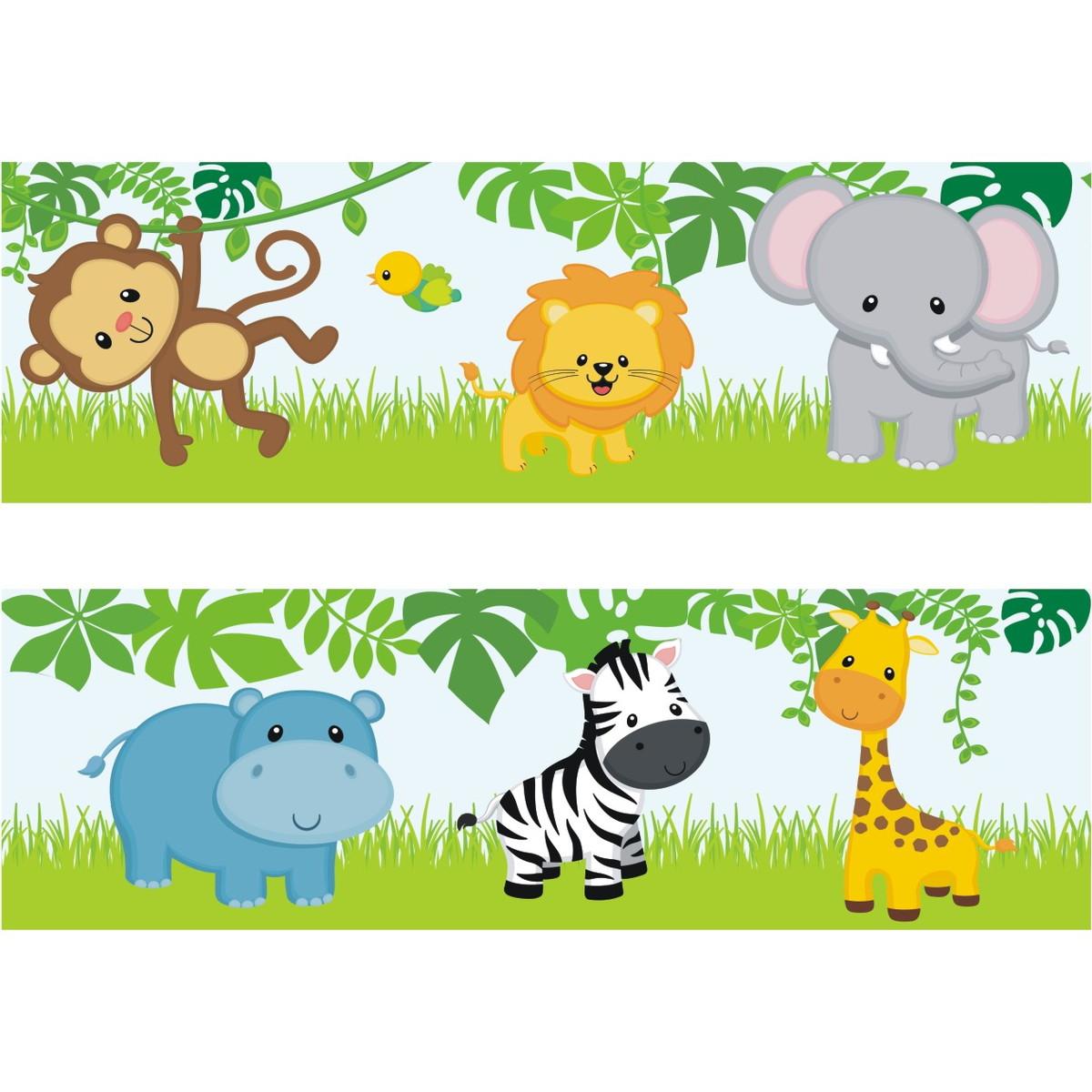 Adesivo Faixa Border Kit Zoo Safari M33 Quartinhodecorado Elo7 ~ Paredes De Gesso Para Quarto E Quarto De Bebe Floresta