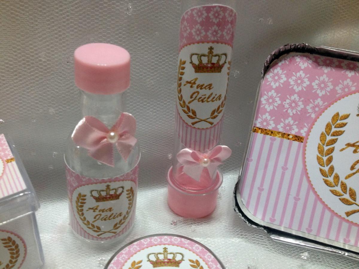 kit festa princesa rosa e dourado Naki Personalizados Elo7