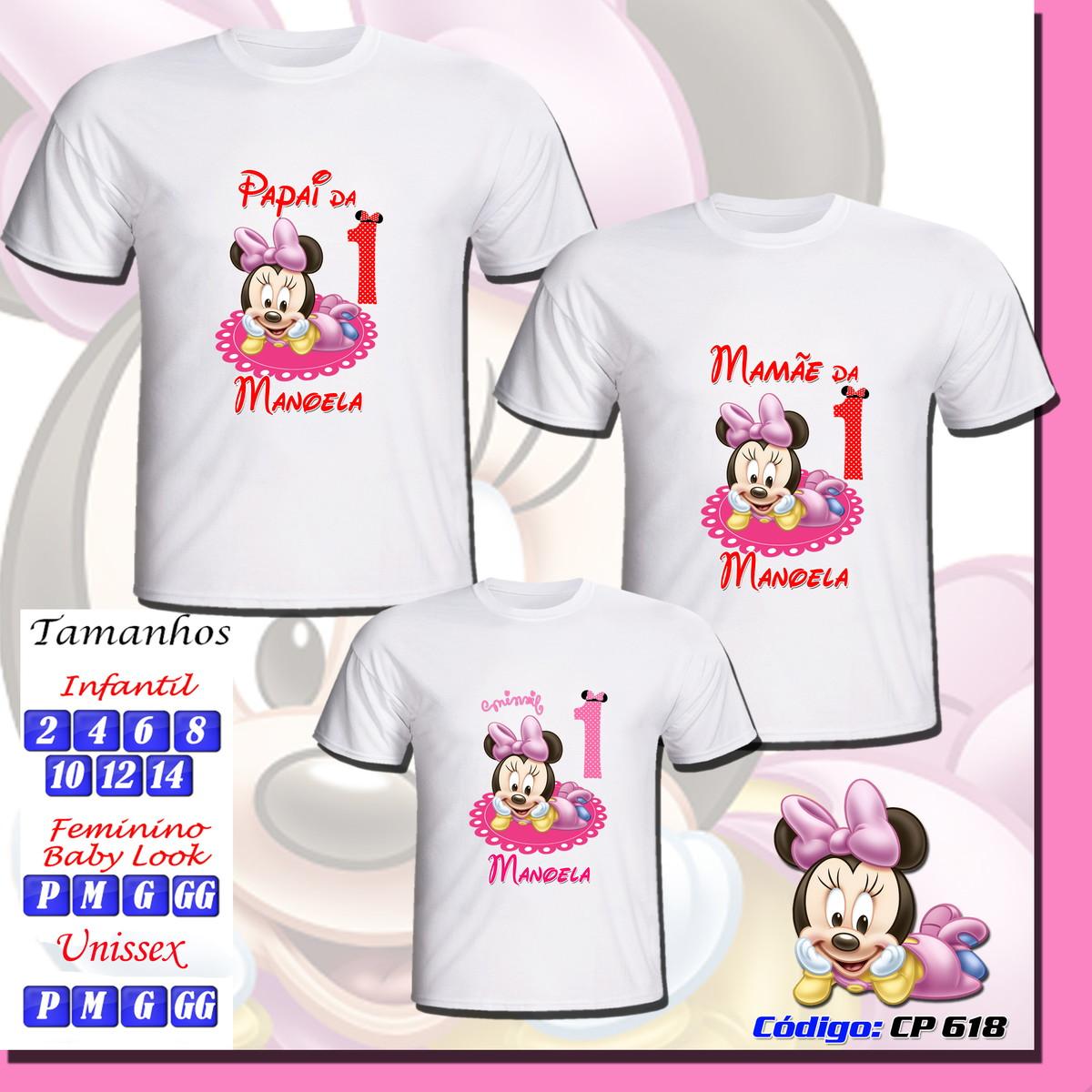 7763e48af7 Kit 3 Camisetas Festa Minnie no Elo7