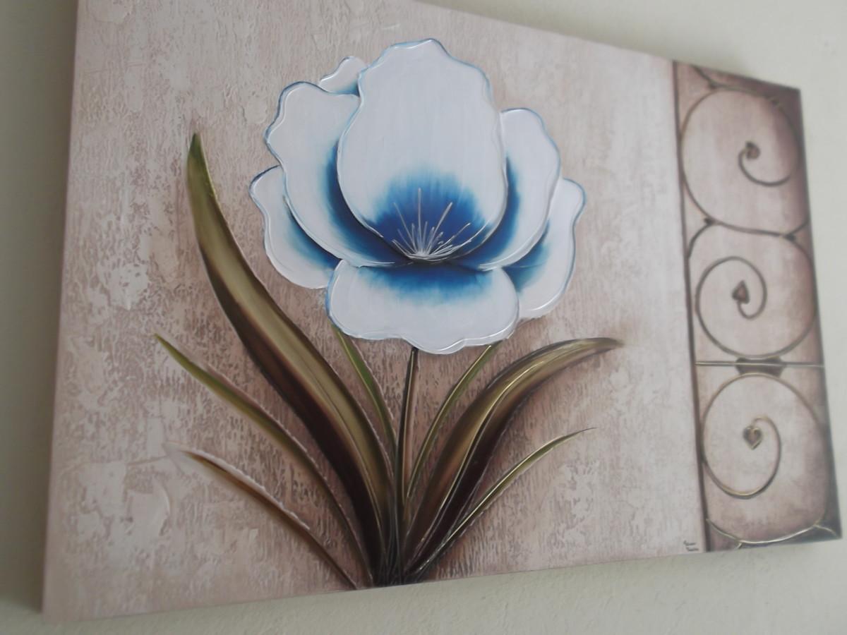 2daec5ca9 Quadro Tela Pintura Flor Delicada Azul no Elo7