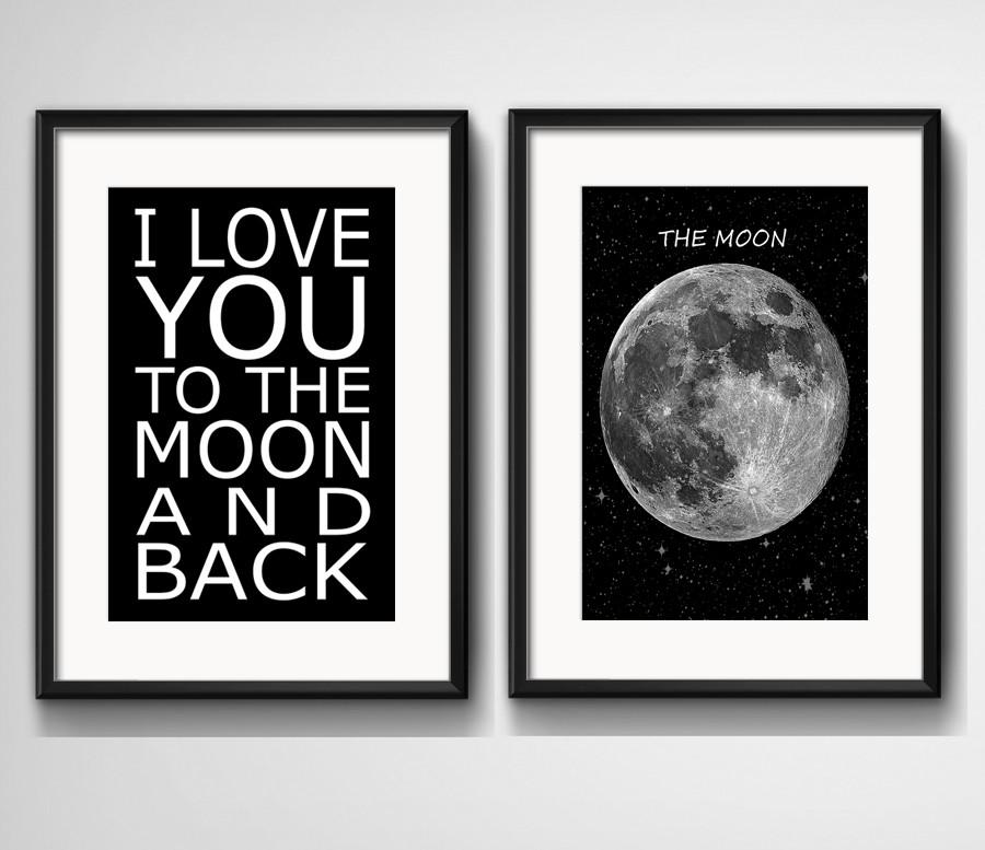 2 Quadros Frase Preto Branco Lua Amor Com Paspatur No Elo7 Red