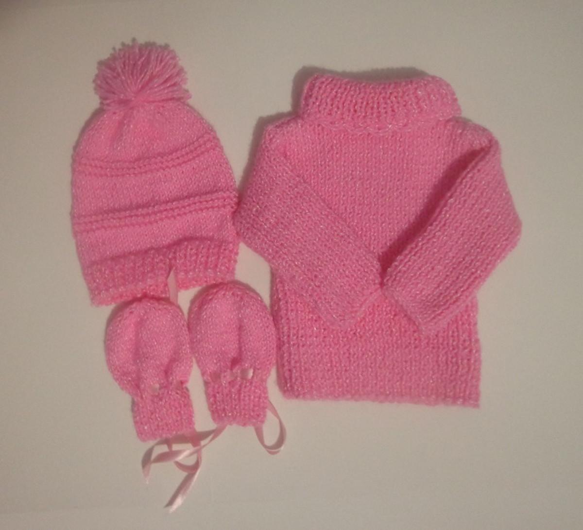 b2b4f10578 Conjunto tricô à mão bebê .Kit promoção! no Elo7