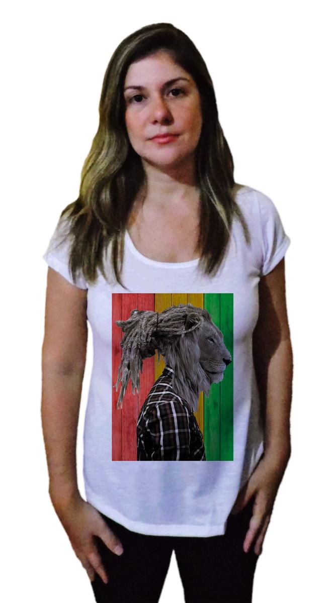 T-shirt Camiseta Arte Leão Rasta no Elo7  b6195854aab