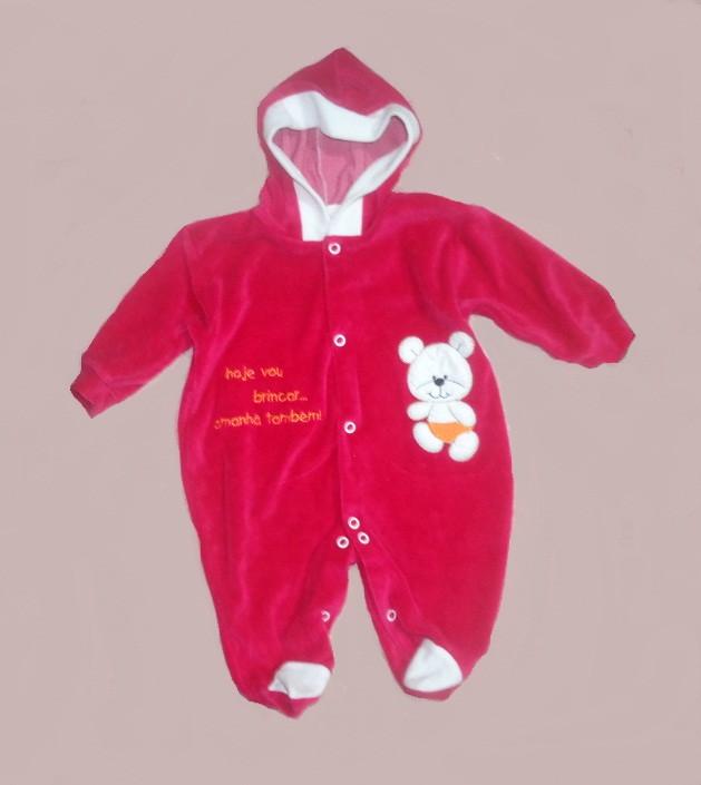 Macacão com capuz em plush para bebê no Elo7  3665579f3ed8