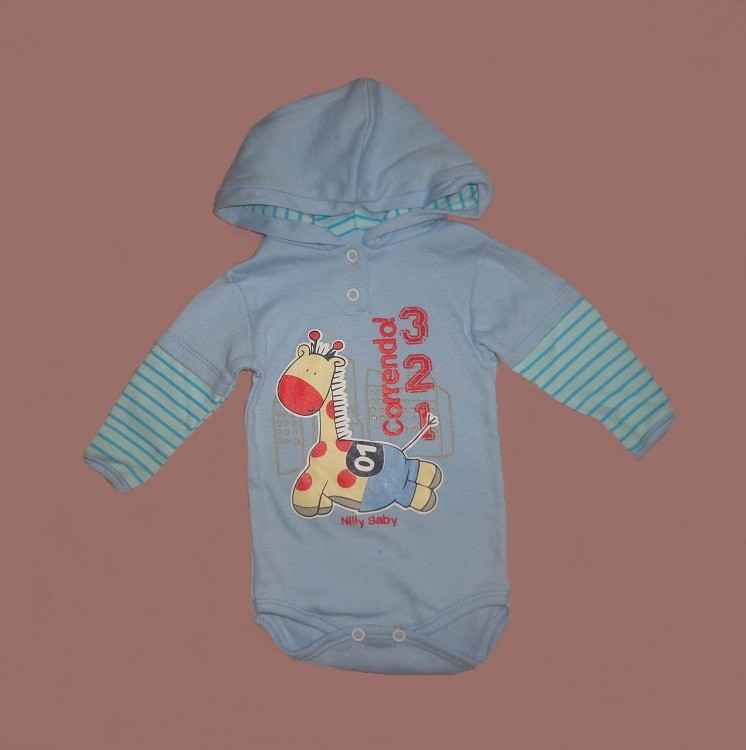 Blusa body c capuz em malha para bebê RN no Elo7  6cd09ac422ed