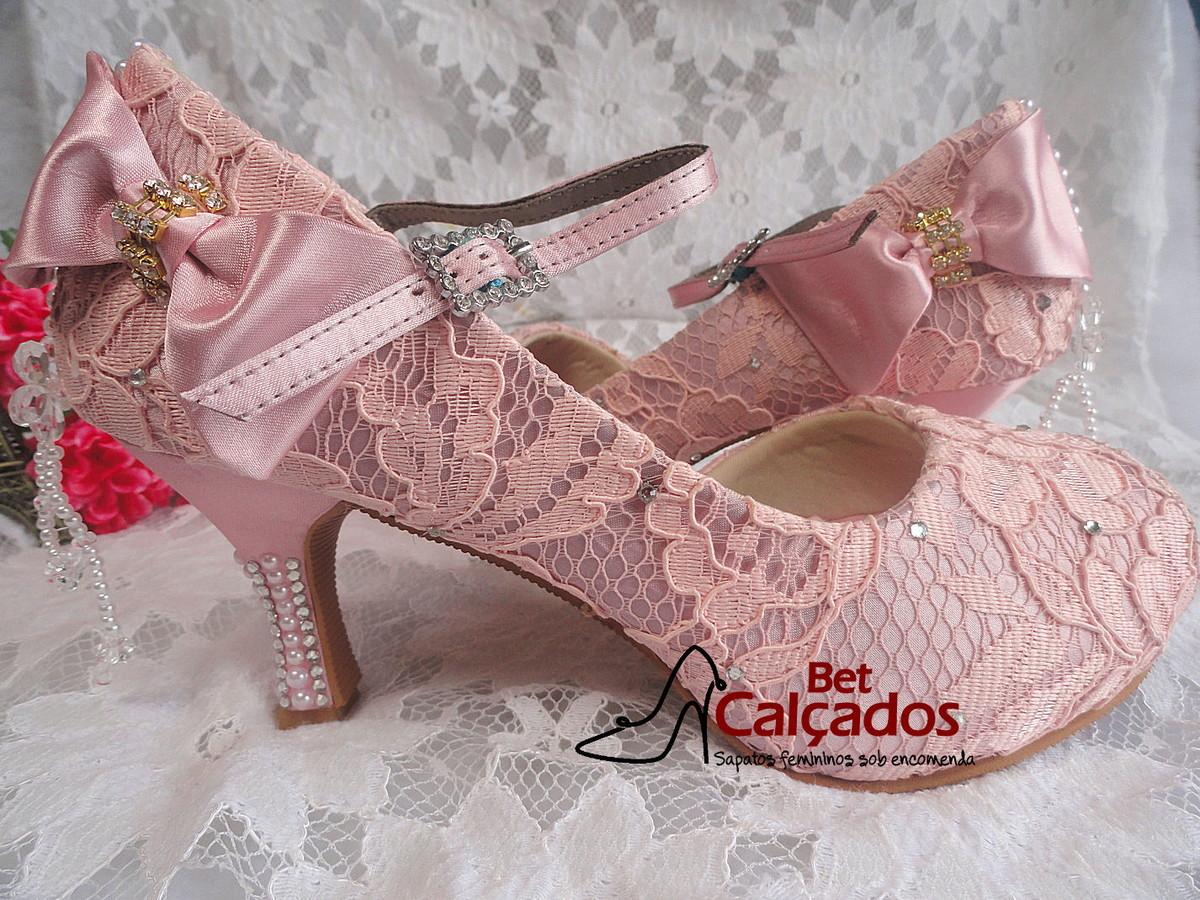 771a57a35 Sapato renda Rosa bebe gotas strass no Elo7 | Bet Calçados (7A23B2)