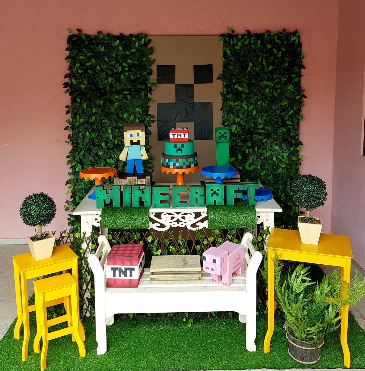 Aluguel Decoraç u00e3o Festa Minecraft no Elo7 Convites e Festas (71D112) -> Decoração De Aniversario Infantil Com Tnt