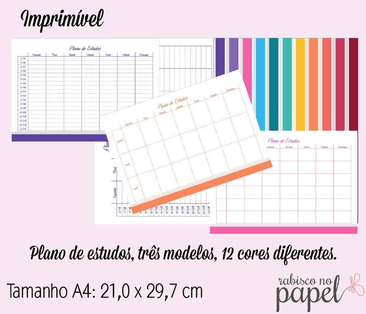 Imprimível Plano De Estudos A4