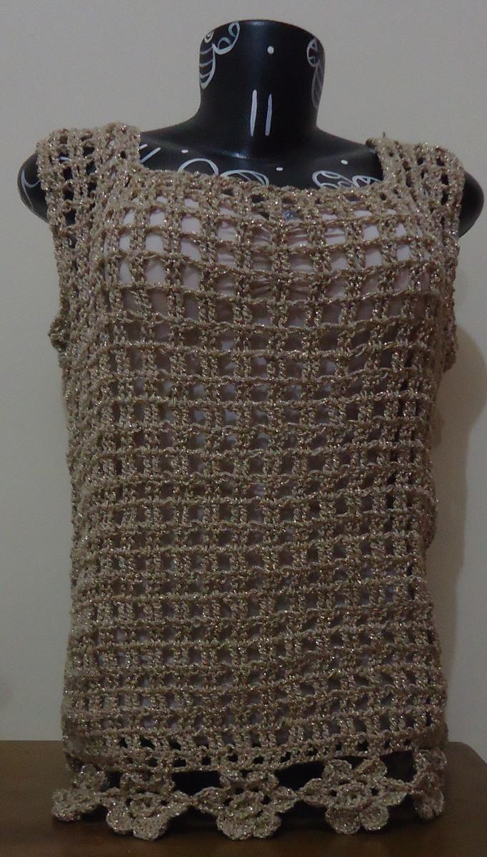 7f94d41515786 Zoom · Blusa de Crochê - Marrom com Brilho