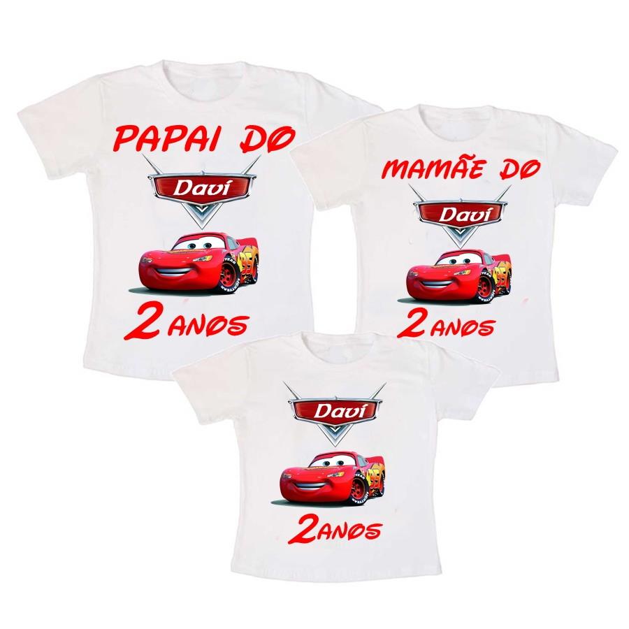 d51a6995f2 Kit 3 Camiseta Aniversários Carros 2 no Elo7