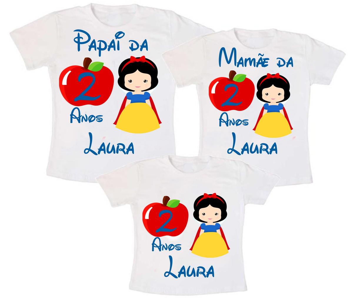 8b284e2419e05 Kit 3 Camiseta Branca de Neve no Elo7