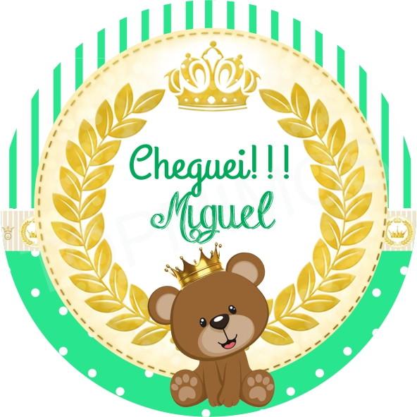 Armario Hemnes Amarillo ~ Tag e Adesivo Urso Príncipe Verde Top mimos Elo7