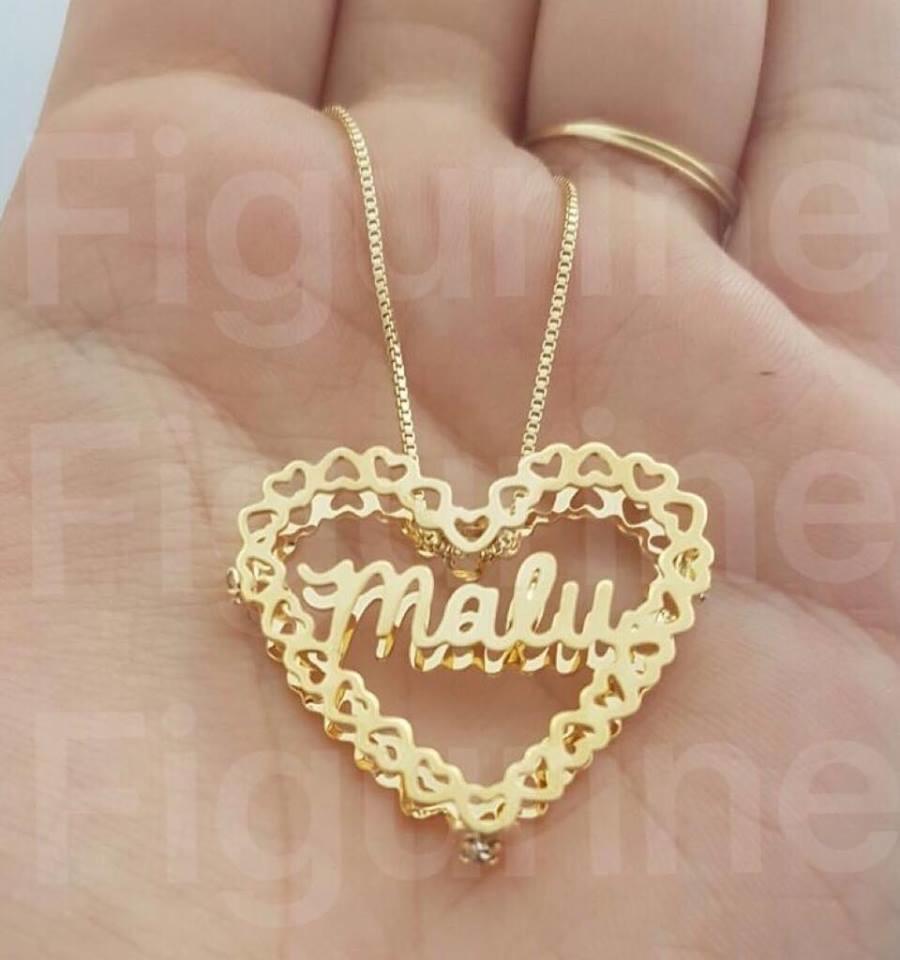 Colar Mandala de Coração com Nome Banhado a Ouro no Elo7   Figurine ... e8e3d72908