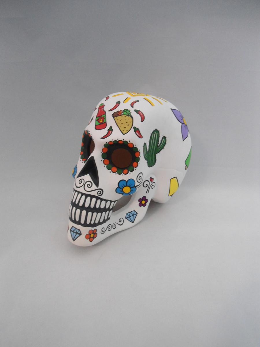 Crânio Cav Mex Branco em Cerâmica Vazada no Elo7  19d1ae5e357