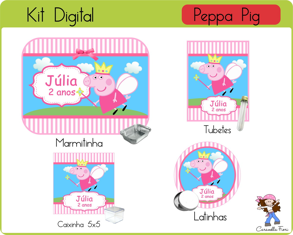 Kit Festa Digital Pig No Elo7 Caramella Fiori Digital 7b748a