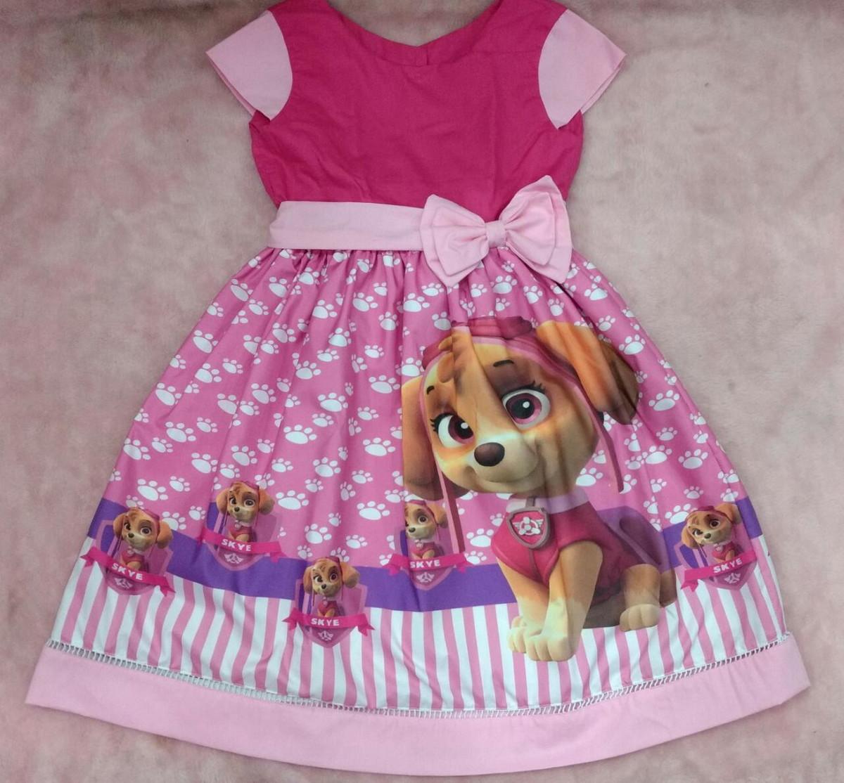 Vestido Patrulha Canina Skye