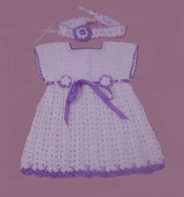 41a476a34 Vestido em crochê para bebê 1 ano no Elo7