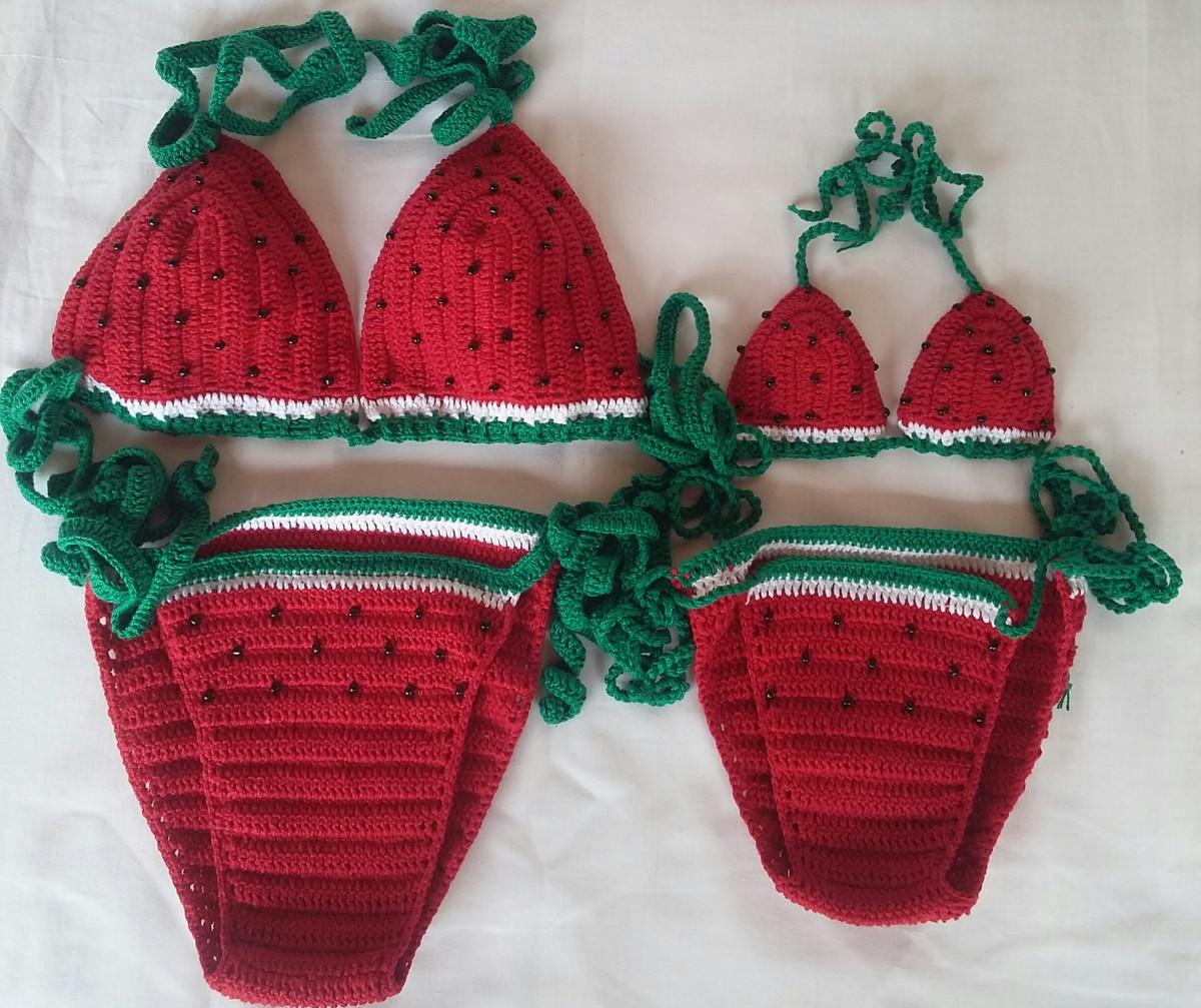 Biquine de crochê melancia mãe e filha no Elo7  34612b33c1f
