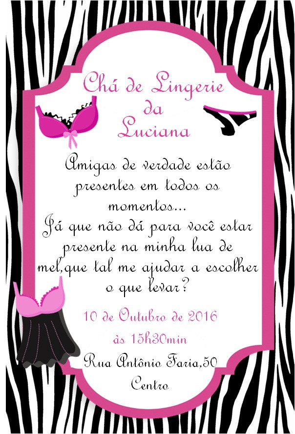 Convite Chá De Lingerie Modelo 05