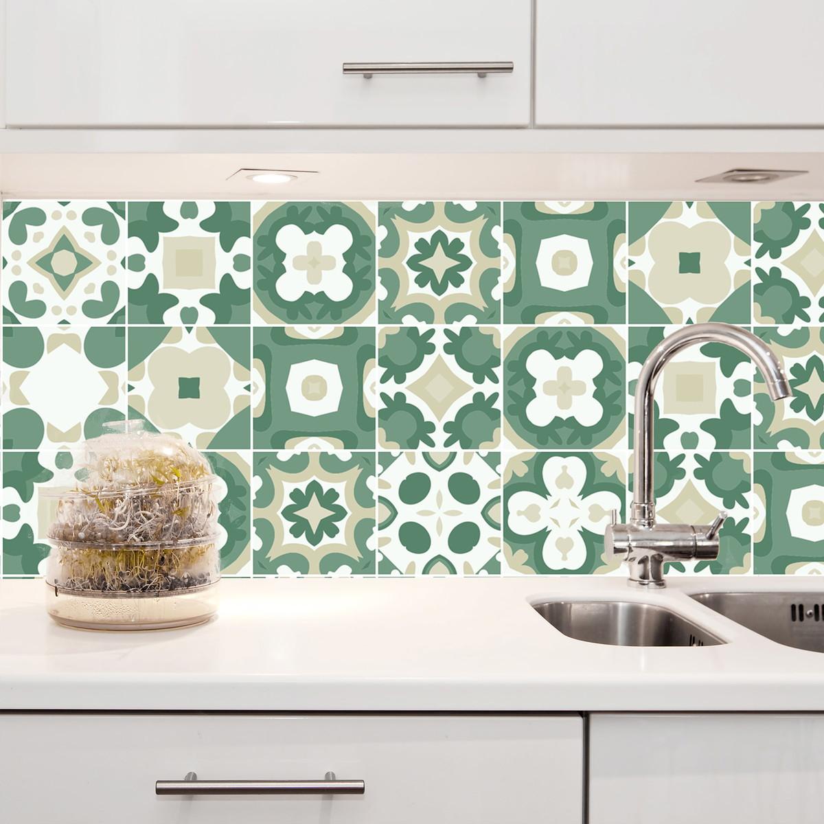 Adesivo de azulejo 10x10 100un verde conde no elo7 for Azulejos conde