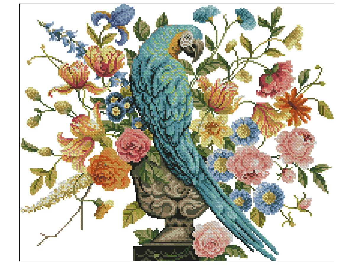 0185502e9 Papagaio e Flores - Gráfico Ponto Cruz no Elo7 | Thimage - Gráficos ...
