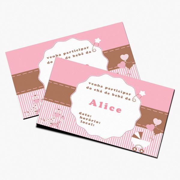 convite para imprimir chá bebê rosa