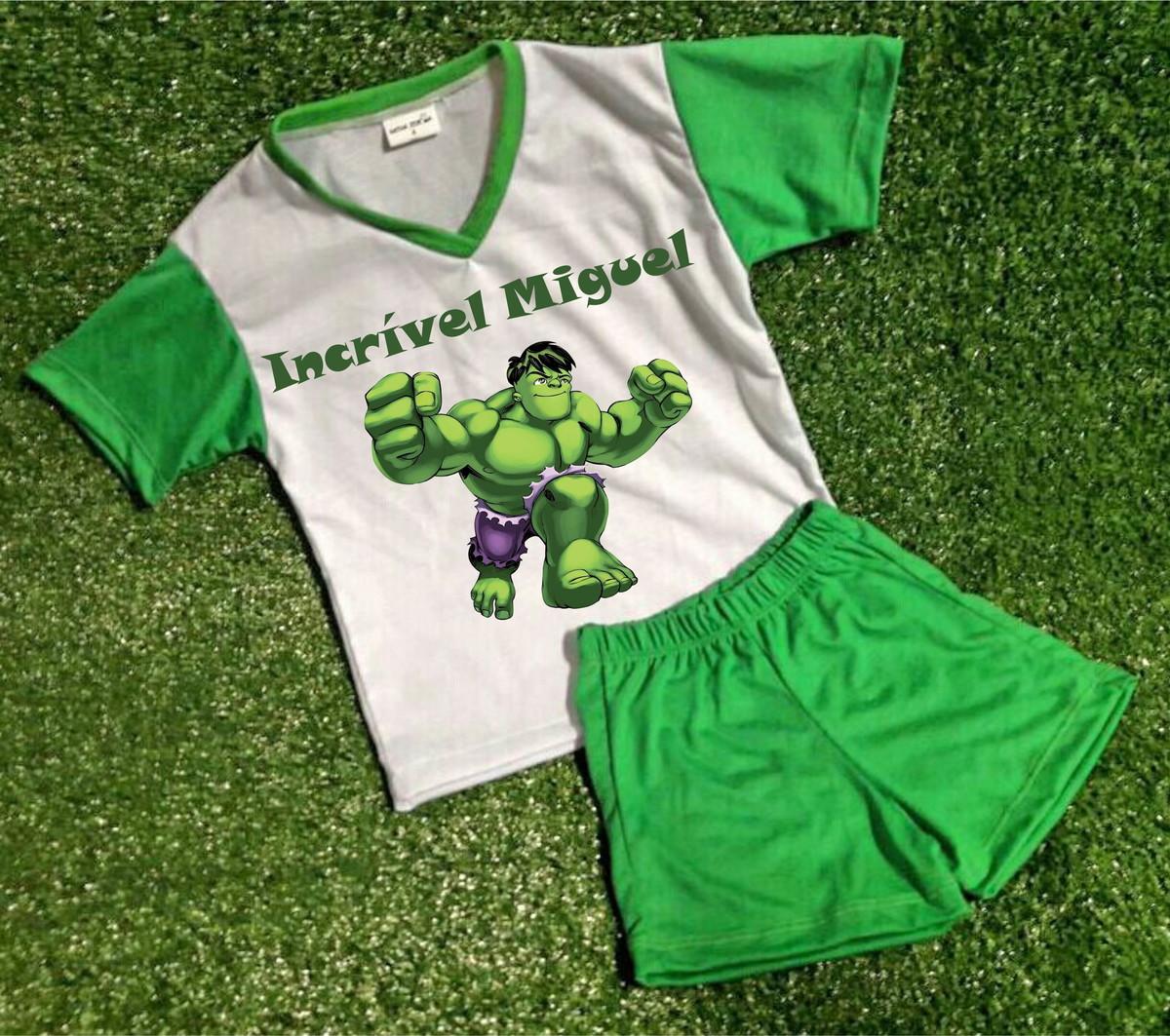 20ded21cc Pijama Infantil Personalizado Hulk no Elo7