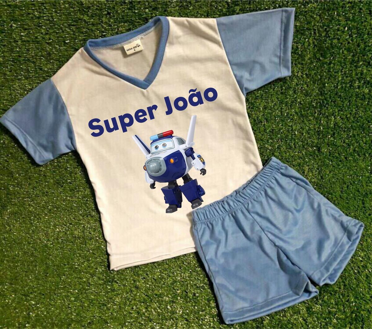 cf52c64dd Pijama Inf. Personalizado Super Wings 2 no Elo7