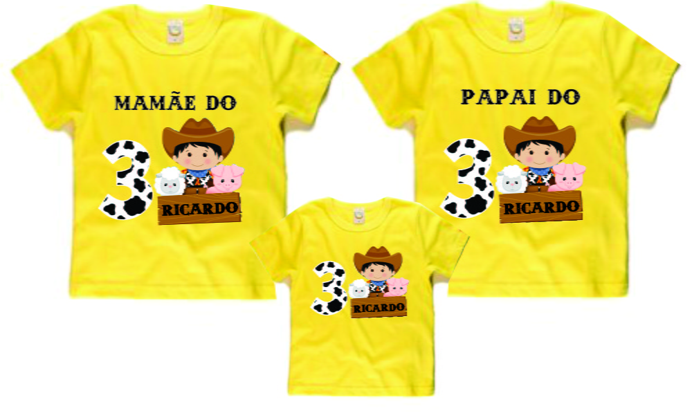 Kit camisetas aniversario fazendinha no elo esquina do game jpg 1000x597 Kit  camiseta 0e45fbd9eb24c