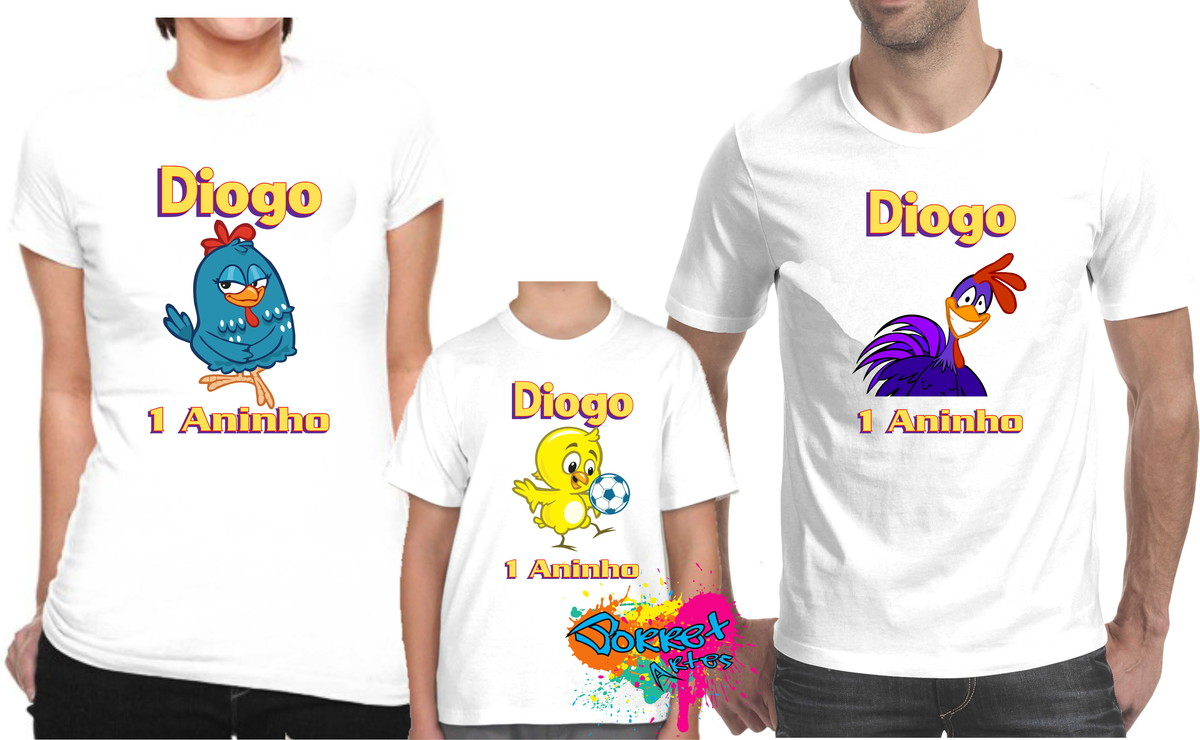 5157290018 Camisa Galinha Pintadinha 3 Pçs no Elo7