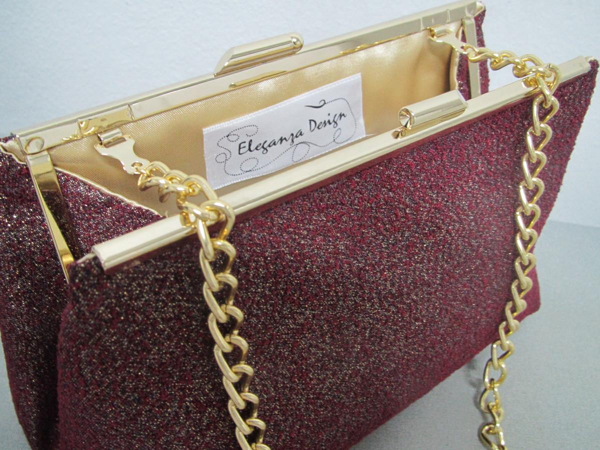 931c28db6 Bolsa Clutch em Lame Vinho e Dourada no Elo7 | Eleganza Design (7D5AE9)