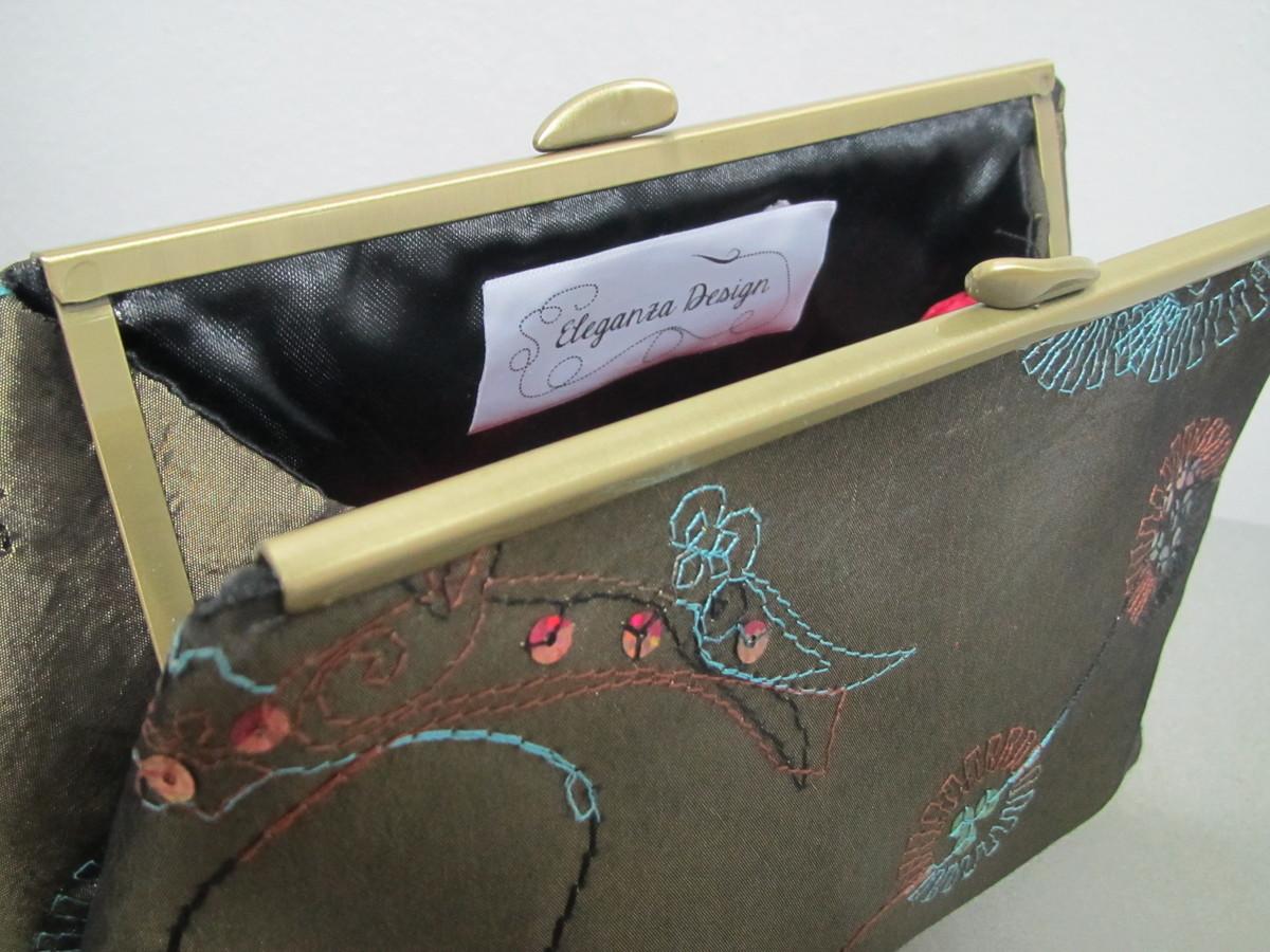 a9d55d63b Bolsa Clutch em Tecido Verde Bordado no Elo7 | Eleganza Design (7D5B6C)