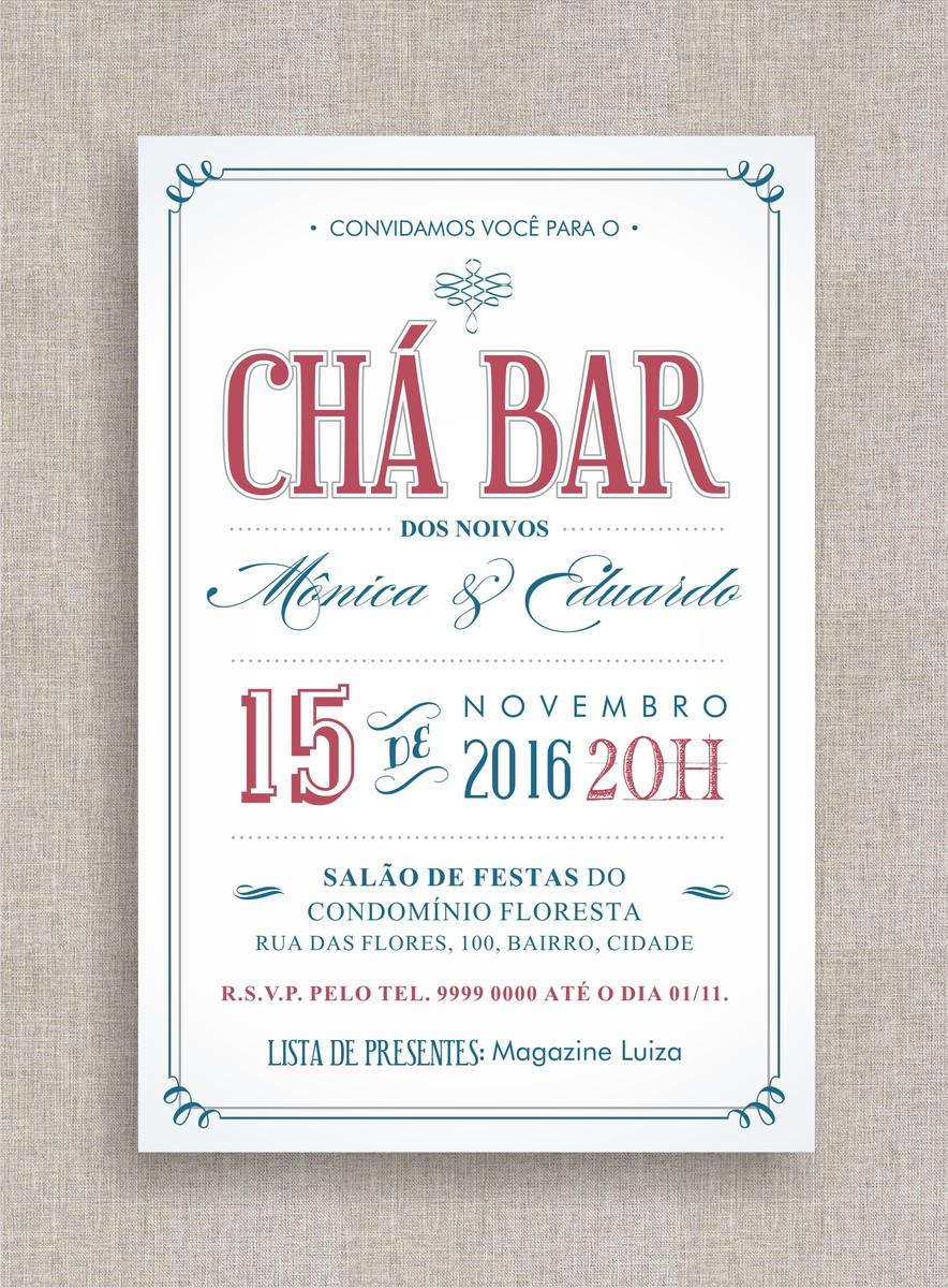 Conhecido Convite Digital Chá Bar 02 no Elo7 | A Ana Faz (7D6BAC) BB49