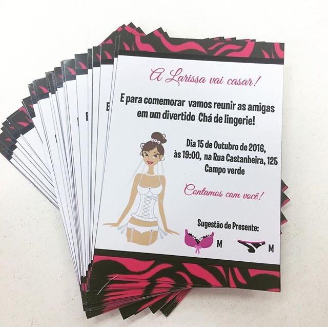 776566de9 Convite Chá de lingerie Rosa e Preto no Elo7