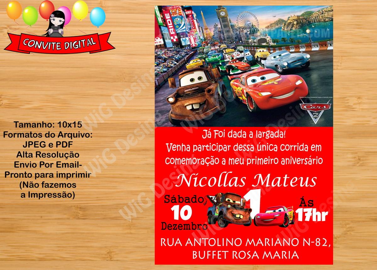 Carros Convite Digital Disney Mcqueen Bolle Blu Party