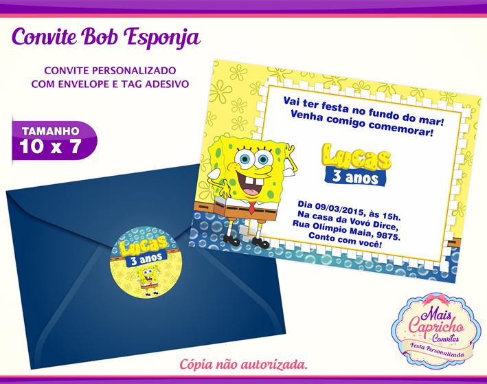 Convite Bob Esponja No Elo7 Mais Capricho Convites 7e13f8