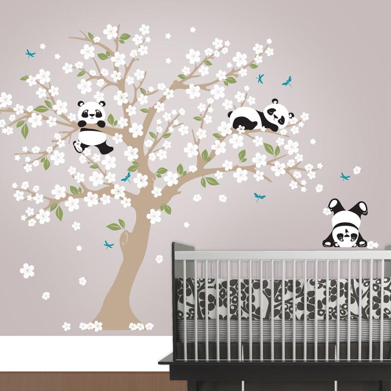Artesanato Sobre Halloween ~ Adesivoárvore com urso panda Quarto de Criança