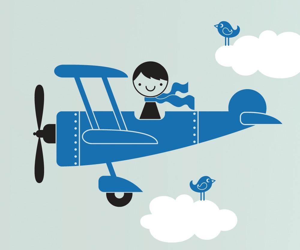 Adesivo Aviao Azul Com Nuvens Brancas No Elo7 Quarto De Crianca