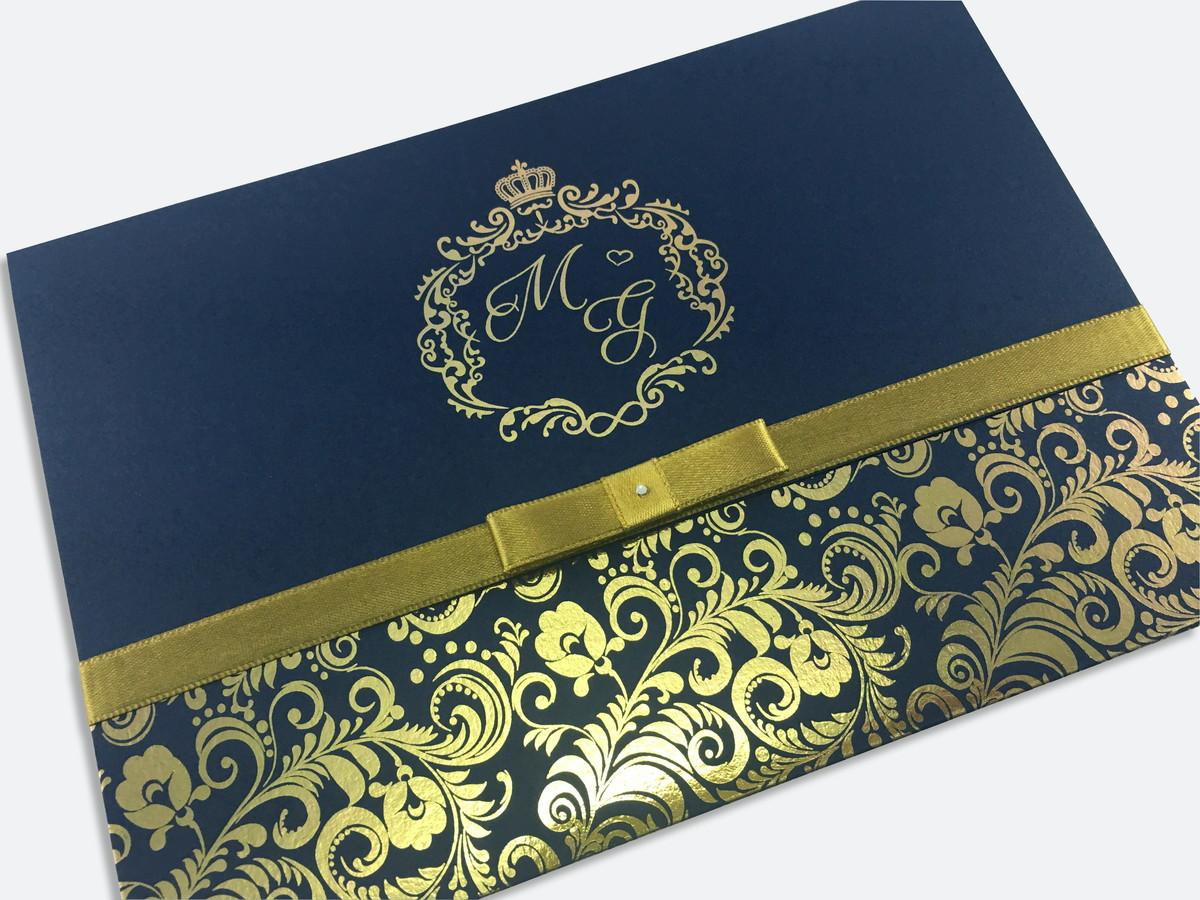 Convite De Casamento Azul Marinho Dourado Metalico No Elo7 Gm