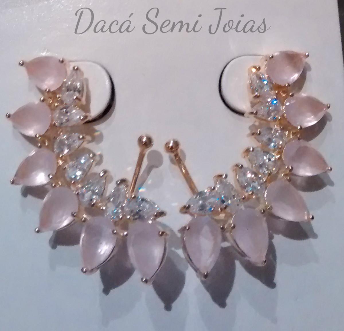 Brinco Ear Cuff Rosa no Elo7   Dacá Semi Joias (7E7C70) 2b537dc86c