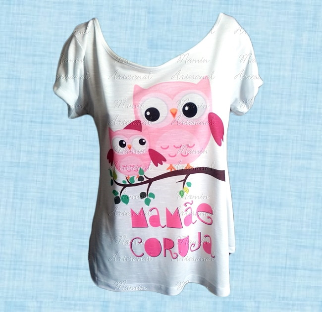 68d35aa0e3 T shirt Mamãe coruja no Elo7