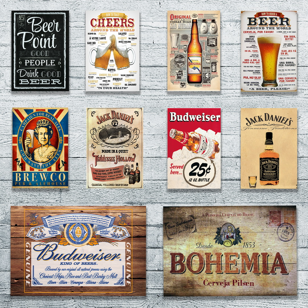 Kit 10 placas cerveja churrasqueira hadesive elo7 for Placas decoradas para pared