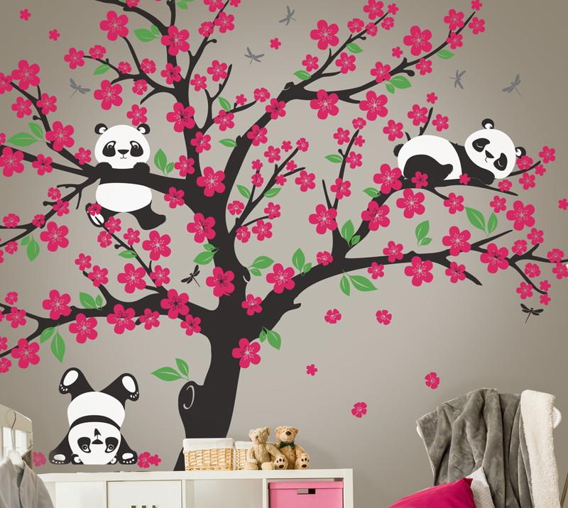 Adesivo 225 Rvore Cerejeira Com Ursos Panda No Elo7 Quarto